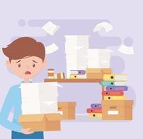 beklemtoonde zakenman, frustratie op kantoorwerk en stress vector