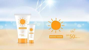 sunblock productontwerp mockup op strand achtergrond, cosmetisch advertentieontwerp, vectorillustratie