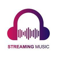 muziek streaming pictogram logo, vectorillustratie