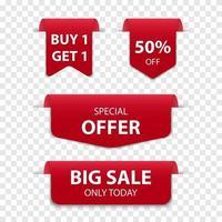3d rode geïsoleerde verkoop van de bladwijzertag, vectorillustratie vector
