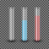 realistische reageerbuis met blauwe en rode oplossing, vectorillustratie