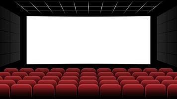 bioscoop bioscoop met leeg scherm en rode stoelen, vectorillustratie