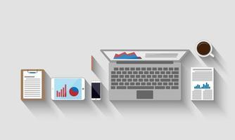 bovenaanzicht van werkplek, bedrijfsconcept, vectorillustratie