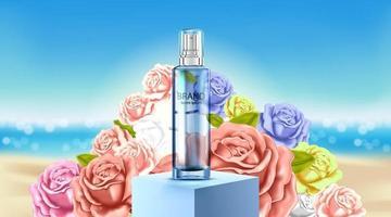 luxe cosmetische flespakket huidverzorgingscrème, poster voor schoonheidsschoonheidsproducten, roos en strandachtergrond