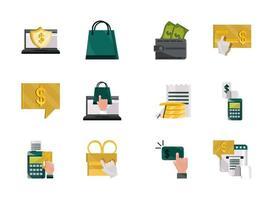 betalingen online, geld en financiën technologie icon set vector