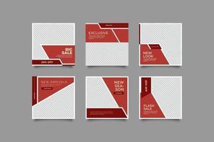 minimalistische sociale media postsjabloon in baksteenkleur vector