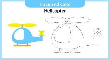 trace en kleur helikopter vector