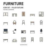 set van meubels gevulde lijn icon set. meubels gevuld overzicht pictogrammen. vector pictogram.