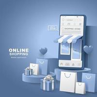 online winkelen op sociale media. smartphone met boodschappentas en geschenkdoos. digitale winkels, levering van applicaties. vector illustratie