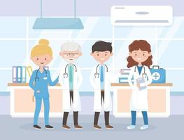gezondheidswerkers in het stripfiguur van de kliniek vector