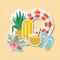 hallo zomer- en vakantiestickersontwerp vector