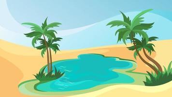 meer met palmbomen in de woestijn. prachtig natuurlijk landschap. vector