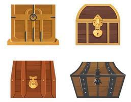 set houten schatkisten vector