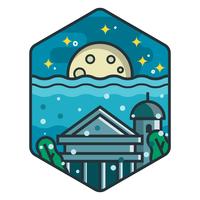 Mooie stad van Atlantis-badge vector