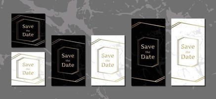 luxe uitnodigingskaarten zwart-wit marmeren achtergrondcollectie met gouden geometrische frame vector ontwerpsjabloon