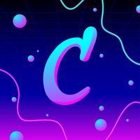 Letter C Typografie elektronische vector