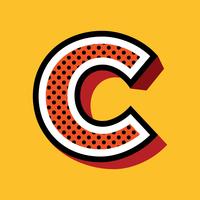 Letter C Pop-artstijl