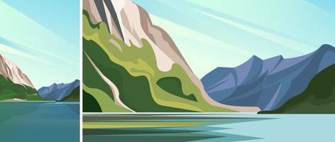 meer met geplaatste bergen vector