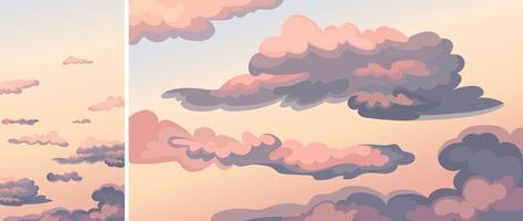 hemel met wolken bij zonsondergang. vector
