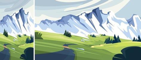 weg naar besneeuwde berg set vector