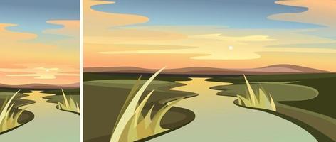 rivierlandschap bij dageraad set vector