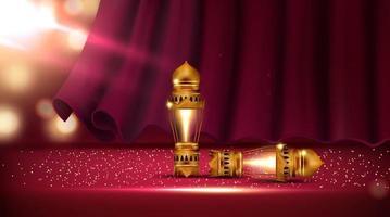 rood gordijn met lantaarns in theaterzaal vector