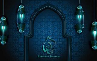 ramadan kareem-kalligrafie op blauw versierd muurkader met lantaarns vector
