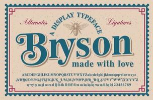 een vintage serif-lettertype met een groot aantal plaatsvervangers en ligaturen, dit lettertype ziet er beter uit voor koppen of korte zinnen en kan worden gebruikt voor alcoholetiketten, retro-emblemen en voor vele andere toepassingen.