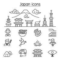 Japanse pictogrammen instellen in dunne lijnstijl
