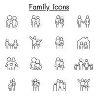 familie pictogrammenset in dunne lijnstijl vector