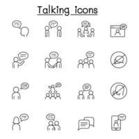praten, spraak, discussie, dialoogvenster pictogrammenset in dunne lijnstijl