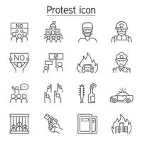 protest, revolutie, staking, pictogrammenset in dunne lijnstijl