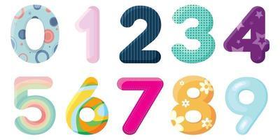 set veelkleurige nummers voor elke combinatie.