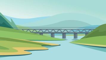 brug over de rivier vector