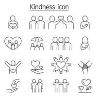 vriendelijkheid, liefdadigheid, donatie pictogrammen instellen in dunne lijnstijl