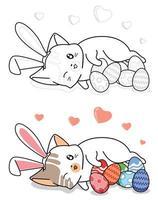 konijntje kat en eieren in paasdag cartoon gemakkelijk kleurende pagina voor kinderen