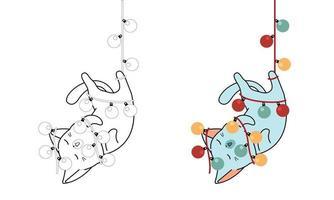 kat hangt met elektrische draad cartoon gemakkelijk kleurende pagina voor kinderen