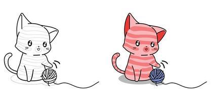 schattige kat speelt met garen cartoon kleurplaat voor kinderen