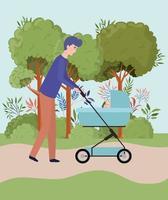 vader die voor pasgeboren baby zorgt in het park vector