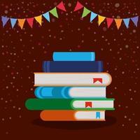 gestapelde boeken en wimpelversiering vector