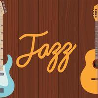 elektrische bas en akoestische gitaar op een houten achtergrond