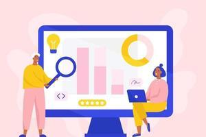 concept voor bedrijfsanalyse, marktonderzoek, producttesten, data-analyse. twee marketingspecialisten die analyses maken. platte vectorillustratie.