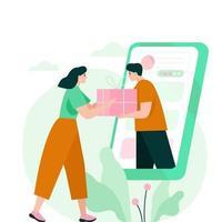 vrouw die een geschenkdoos ontvangt van smartphone. online winkelen concept illustratie. vector