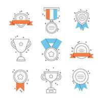 set badges, medailles en prestatie-elementen. emblemen voor winnaar.