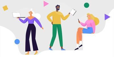 groep mensen met apparaten, smartphone, tablet, laptop. mensen die gadgets gebruiken voor werk en communicatie. kleurrijke vectorillustratie.