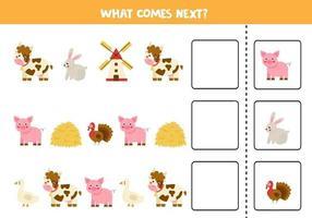 wat komt er volgende spel met cartoon boerderijdieren. vector