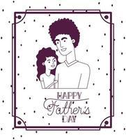 gelukkige vadersdagkaart met vader en dochter vector