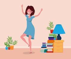 gelukkige vrouw in studeerkamerontwerp vector