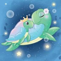 schattige zeeschildpad moeder en baby illustratie vector
