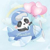 schattige panda die met vliegtuigillustratie vliegt